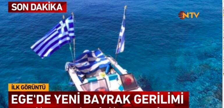 Egede gerilim... Sahil Güvenlik müdahale etti, diktikleri Yunanistan bayrağı kaldırıldı