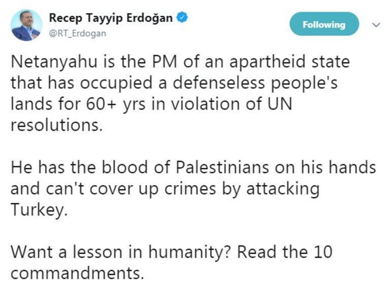 Son dakika... Erdoğandan Netanyahuya Twitterda çok sert yanıt