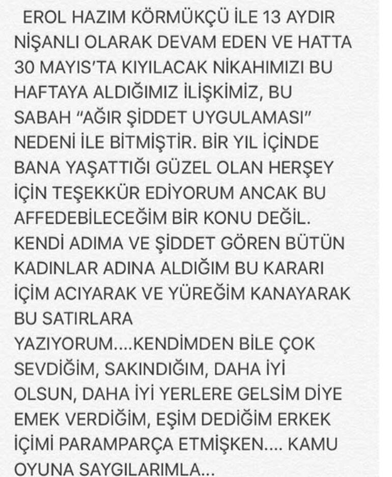 Hazım Körmükçü nişanlısını Zeynep Tandoğan'ı bu hale getirdi...Eski eş:Etme bulma dünyası bu dünya