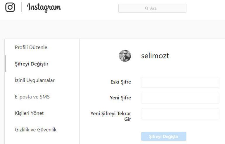 instagram şifre unutma