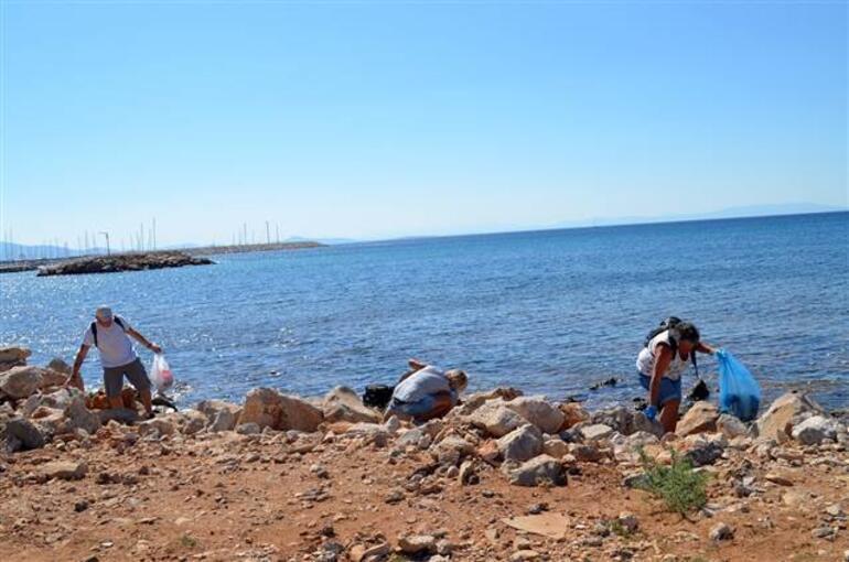 Yabancılardan kıyı temizliği