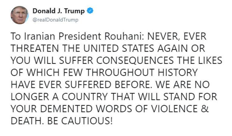 ABD Başkanı Trumptan Ruhaniye çok sert cevap
