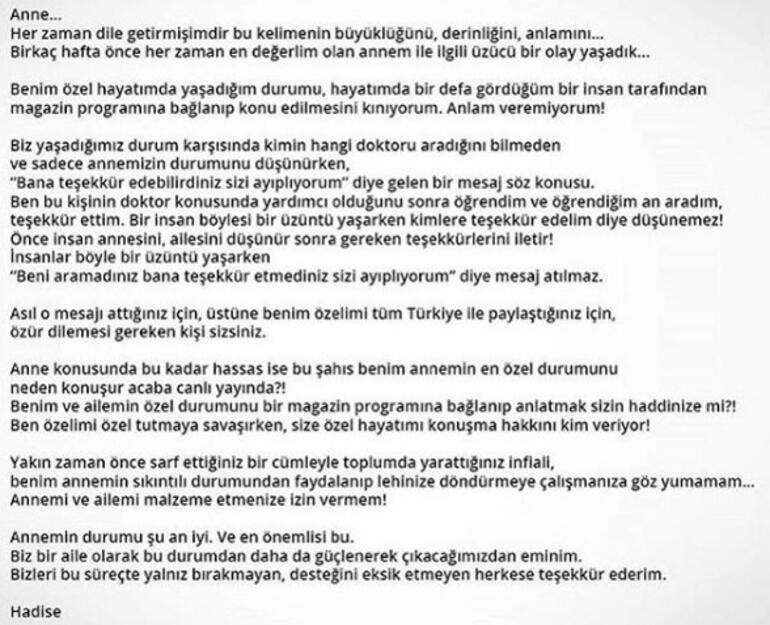 Hadiseden Nur Yerlitaşa tepki: Benim özelimi tüm Türkiye ile paylaştın