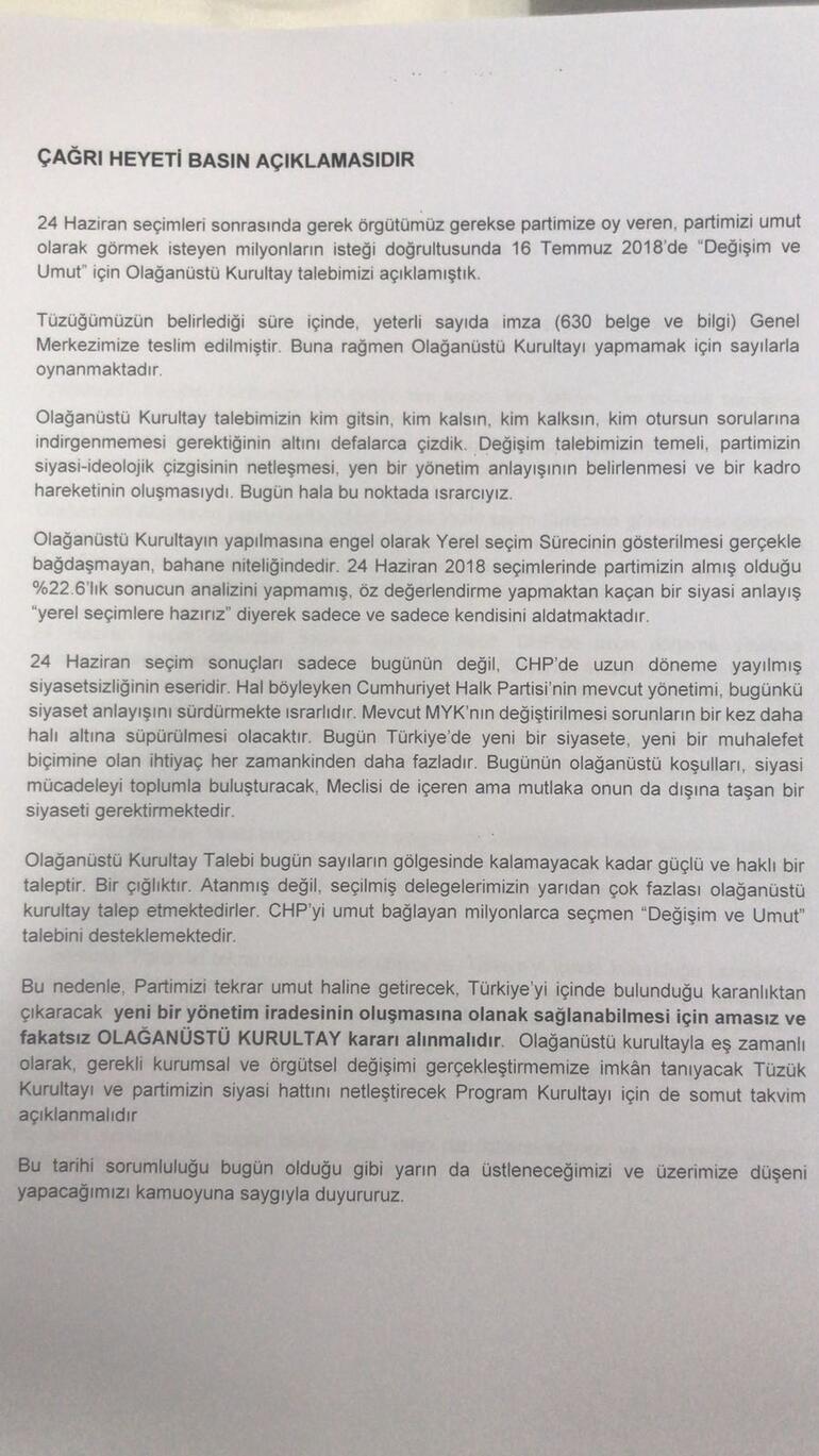 CHPden açıklama: 569 imza geçerli, 31 kişi geri çekmiş, kurultay yok