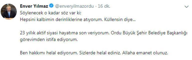 Son dakika... Ordu Büyükşehir Belediye Başkanı istifa etti