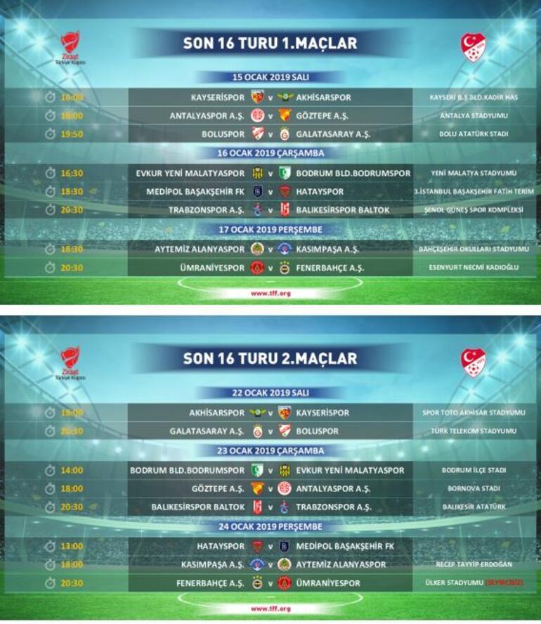 Ziraat Türkiye Kupasında son 16 turu programı