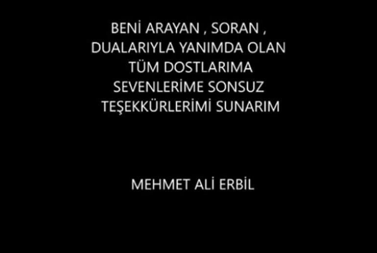 Mehmet Ali Erbilden ilk mesaj