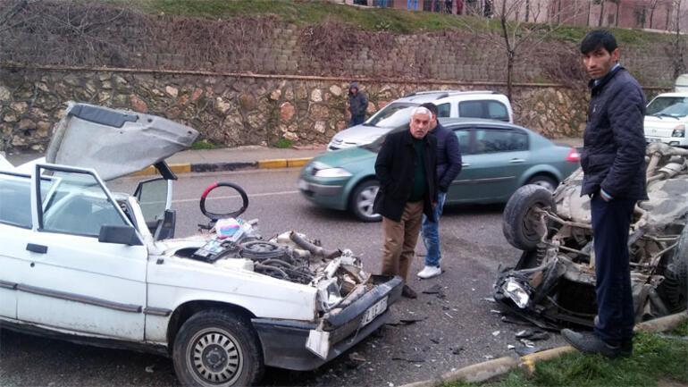 Gaziantepte akılalmaz kaza: 7 metreden aracın üzerine uçtu