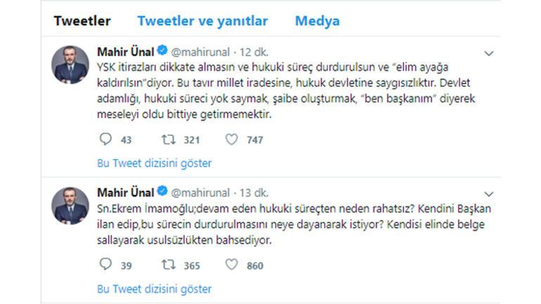 AK Partiden İmamoğluna tepki: Devam eden hukuki süreçten neden rahatsız