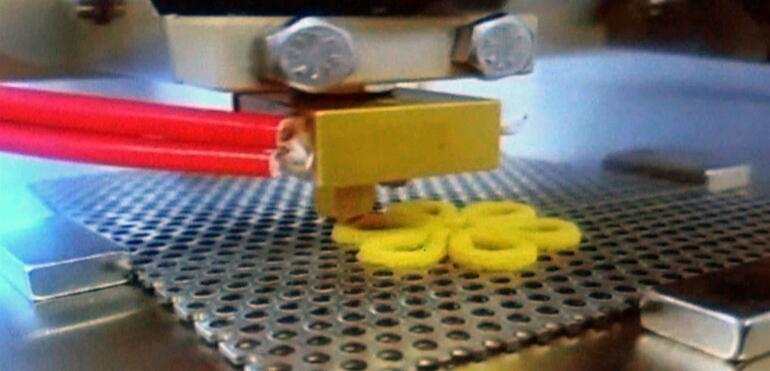 3 boyutlu yazıcıda tavuk etinden atıştırmalık üretildi