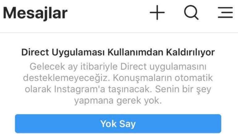Instagram, Direct uygulamasının fişini çekiyor