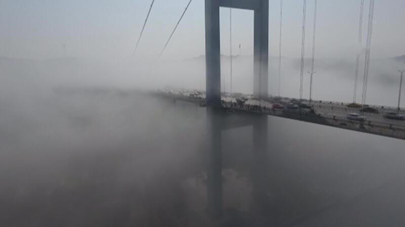 Sis altındaki 15 Temmuz Şehitler Köprüsü havadan drone ile görüntülendi