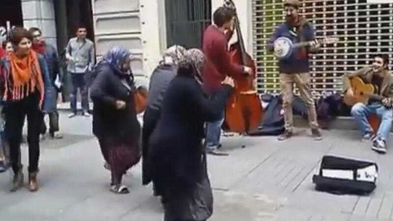 Elderly women dancing to jazz music in Istanbul's Taksim put smiles on faces