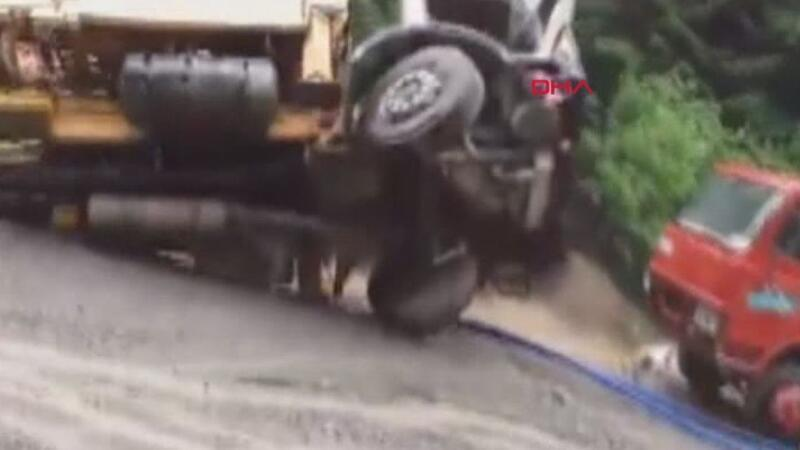 Flash flood swallows trucks in northeast Turkey