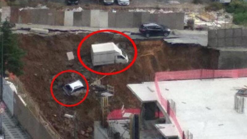 Horrific road collapse swallows cars in Istanbul