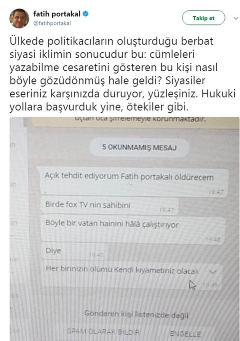 Son dakika.. Fatih Portakalı ölümle tehdit eden kişi yakalandı