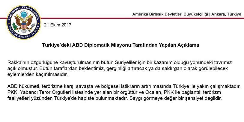 ABD Büyükelçiliğinden son dakika Öcalan açıklaması