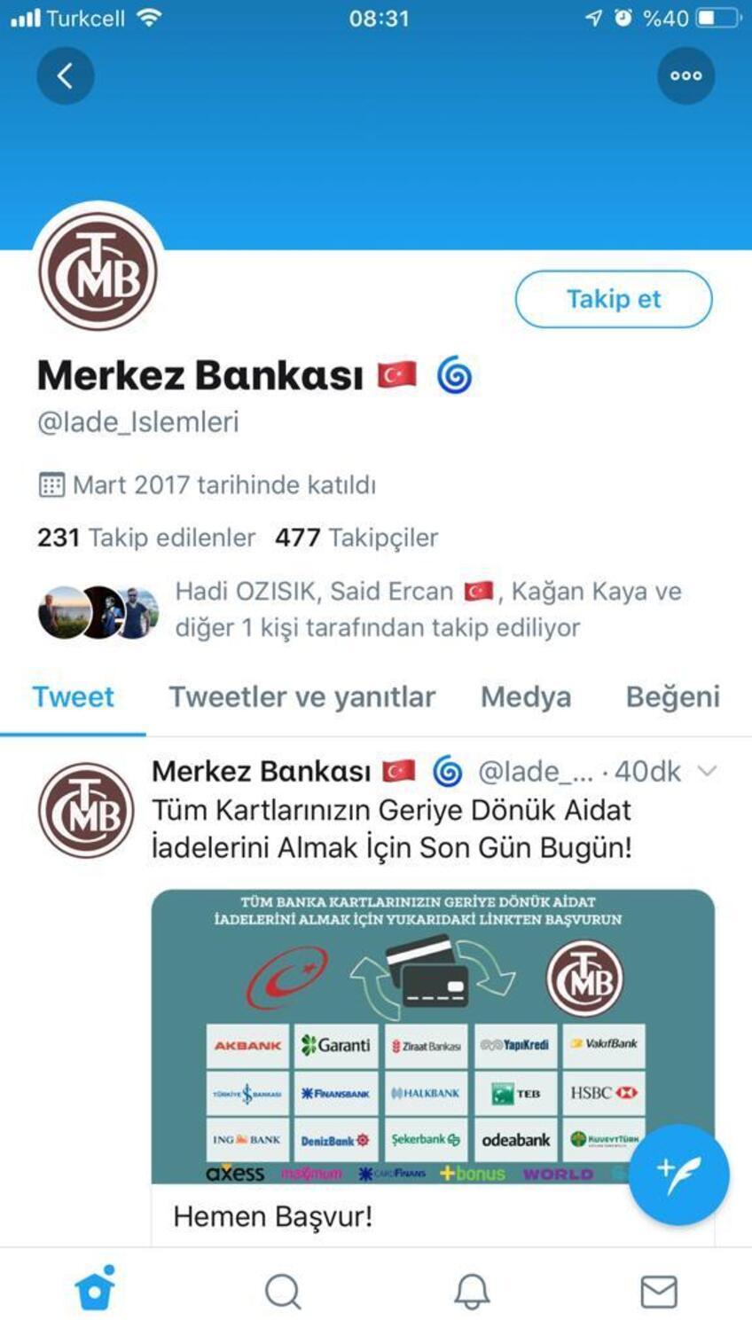 Bilişim Derneği Başkanı uyardı… Twitter'daki sahte merkez bankası reklamına dikkat