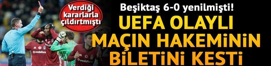 UEFAdan olaylı Dinamo Kiev - Beşiktaş maçının hakemi Thomsona kesik