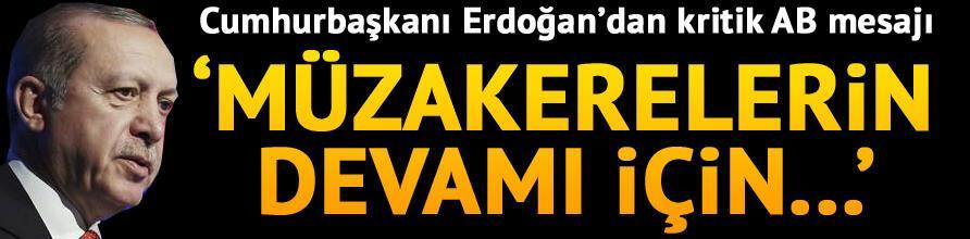 Son dakika: Cumhurbaşkanı Erdoğandan kritik AB mesajı