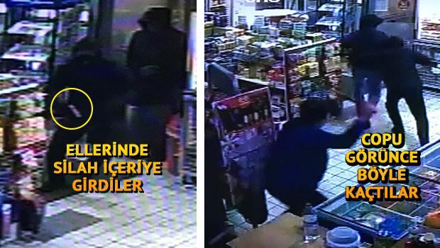 Silahlı hırsızları copla kovaladı