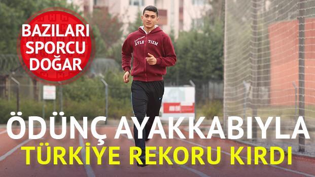 Ödünç ayakkabıyla Türkiye rekoru
