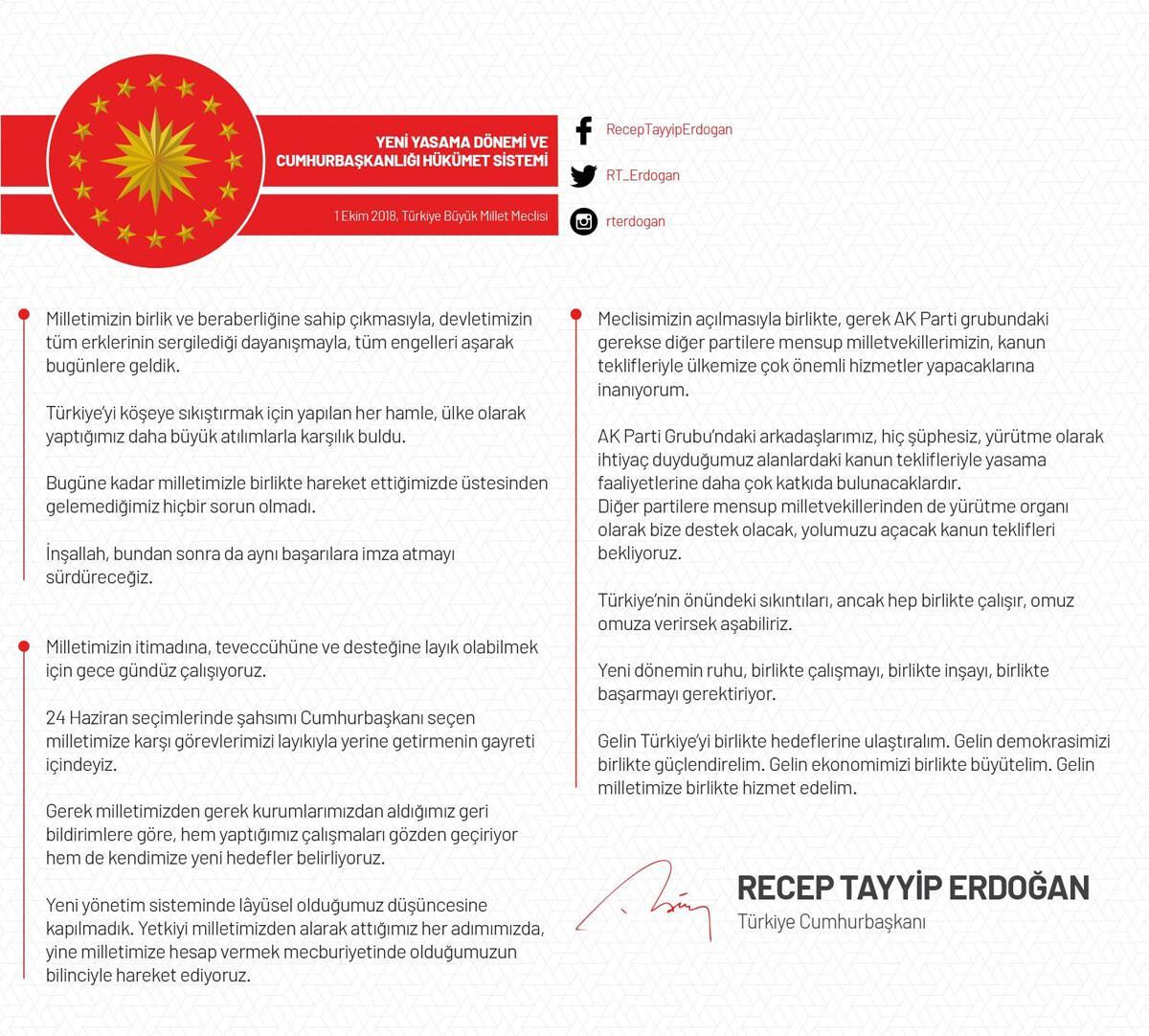 Cumhurbaşkanı Erdoğan'dan 'reform' mesajı