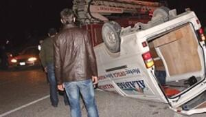 İki mıcır kazasında dört yaralı