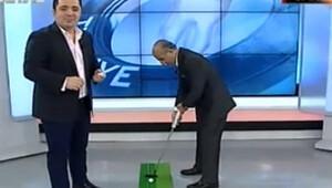 Canlı yayında golf oynadı