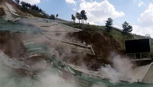 Erzurum'da atlama kulelerinin çökme görüntüleri ortaya çıktı