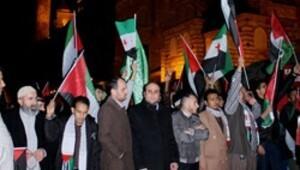 Fatih Cami'nde toplanan 3 bin kişi İsrail'i protesto etti