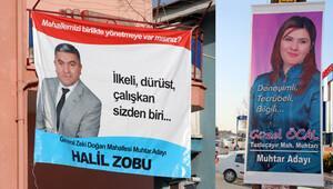 Muhtar adaylarının pankart savaşı