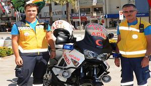 Ambulans motosiklet devrede