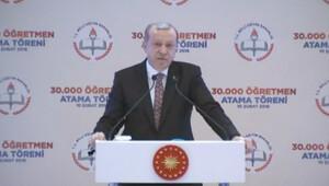 Cumhurbaşkanı Erdoğan öğretmen atama töreninde konuşuyor