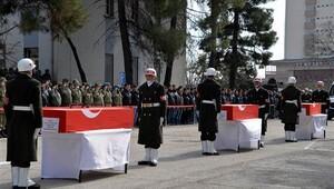 Sur'da şehit olan 3 asker törenle memleketlerine uğurlandı