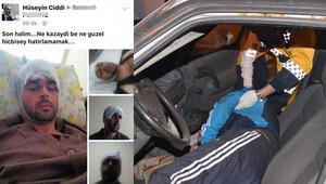 Kaza yaptı, Facebook sayfasına yazdı: Ne kazaydı be