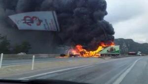 Kazada alev topuna dönen TIR'ın şoförü öldü