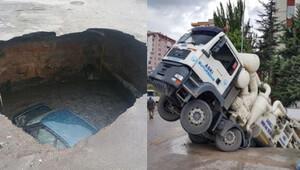 Ankara'daki çukura bu kez ASKİ kamyonu düştü