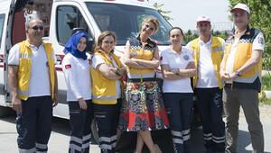 Trafikte yol verilmeyen 112 çalışanları