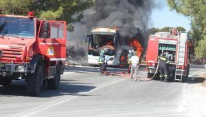 Rodos'ta tur otobüsü yandı, 11 Türk yolcu da ölümden döndü