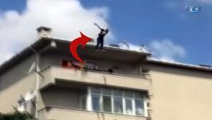 6. kattan atlayan adamı ağaç kurtardı