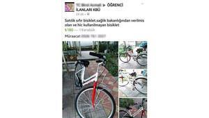 Sağlık Bakanlığı'nın ücretsiz verdiği bisikleti satılığa çıkardı
