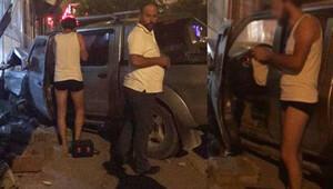 Kaza sonrası araçtan iç çamaşırıyla inen sürücü şaşkına çevirdi