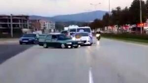 Bahşiş için düğün konvoyunun önünü kesen sürücü kazaya neden oldu