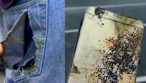 Cebindeyken iPhoneu patladı