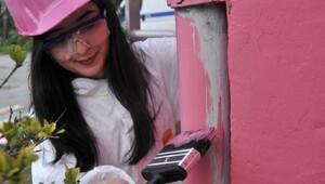 Kadınlar meme kanserine dikkat çekmek için binayı pembeye boyadı