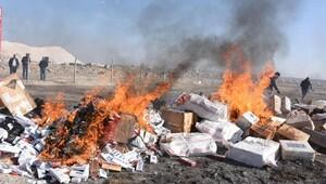 Aksarayda 300 bin paket kaçak sigara imha edildi