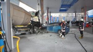 Beton mikseri benzin istasyonuna daldı; 5 yaralı