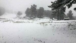 Muratdağına yılın ilk karı düştü