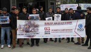 Marmara Üniversitesi Yerleşkesi önünde Halep protestosu
